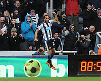 Andros Townsend of Newcastle United celebrates scoring their third goal during the Barclays Premier League match between Newcastle United and Swansea City played at St. James' Park, Newcastle upon Tyne, on the 16th April 2016