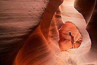 A visitor to the Lower Antelope Canyon, near Page, Arizona. (model released