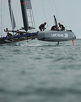 Land Rover BAR, JULY 24, 2016 - Sailing: Land Rover BAR approaches a mark during day two of the Louis Vuitton America's Cup World Series racing, Portsmouth, United Kingdom. (Photo by Rob Munro/Stewart Communications)