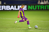 CARSON, CA - SEPTEMBER 19: David Bingham #1 GK of the Los Angeles Galaxy passes off the ball during a game between Colorado Rapids and Los Angeles Galaxy at Dignity Heath Sports Park on September 19, 2020 in Carson, California.