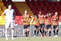 Gianluca Lapadula of SC Benevento celebrates with team mates after scoring a goal<br /> during the Serie A football match between SC Benevento and Bologna FC at stadio Ciro Vigorito in Benevento (Italy), October 04th, 2020. <br /> Photo Cesare Purini / Insidefoto