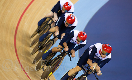 03 AUG 2012 - LONDON, GBR - The team from Great Britain (GBR) race against Denmark during their men's Team Pursuit first round race at the London 2012 Olympic Games in the Olympic Park Velodrome in Stratford, London, Great Britain (PHOTO (C) 2012 NIGEL FARROW)