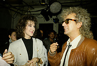 Montreal (Qc) CANADA - File Photo -Circa 1987 - Celine Dion (L) and Luc Plamondon at Musique PLus<br /> <br /> <br /> -Photo (c)  Images Distribution