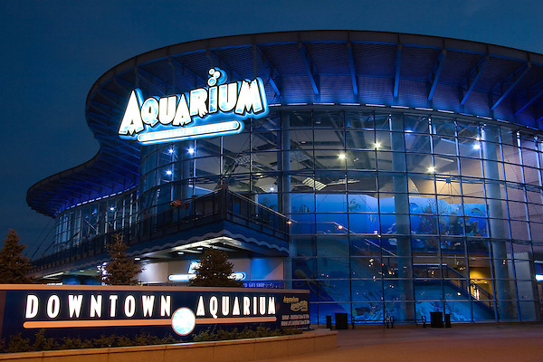Denver's Downtown Aquarium at night in Confluence Park, Denver, Colorado. .  John offers private photo tours in Denver, Boulder and throughout Colorado. Year-round.