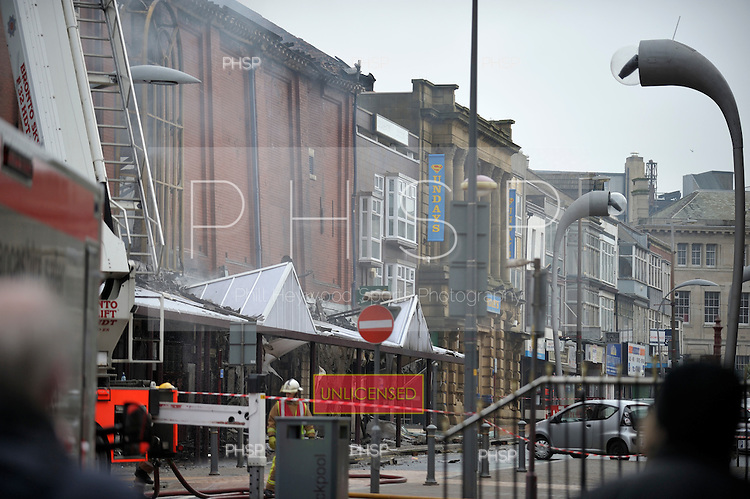 Yates's Fire 15/02/09..Damage to retail units on Clifton St Blackpool