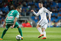 Real Madrid´s Isco (R) and Cornella´s Pere duringSpanish King Cup match between Real Madrid and Cornella at Santiago Bernabeu stadium in Madrid, Spain.December 2, 2014. (NortePhoto/ALTERPHOTOS/Victor Blanco)
