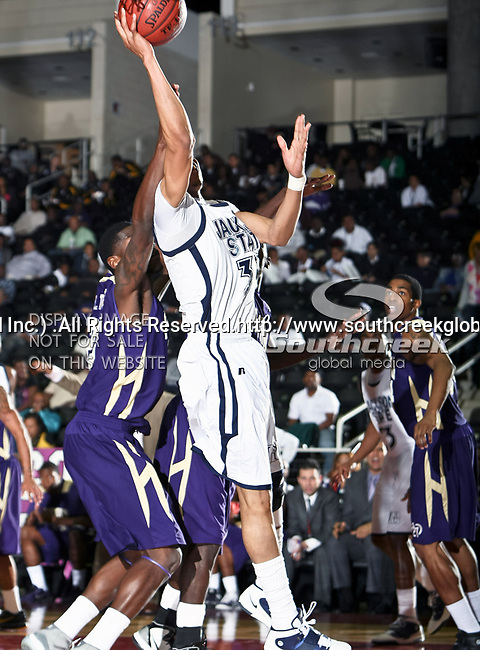 Jackson State Tigers forward Grant Maxey (32) in action during the SWAC Tournament game between the Prairie View A & M Panthers and the Jackson State Tigers at the Special Events Center in Garland, Texas. Jackson State defeats Prairie View A & M 50 to 38.