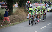 Green jersey Peter Sagan (SVK/Cannondale) pacing his teammates <br /> <br /> stage 9: TTT Vannes - Plumelec (28km)<br /> 2015 Tour de France
