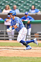 Tennessee Smokies short stop Zack Short (4) swings at a pitch during a game against the Mississippi Braves at Smokies Stadium on May 20, 2018 in Kodak, Tennessee. The Braves defeated the Smokies 7-4. (Tony Farlow/Four Seam Images)