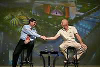 Montreal (Qc) Canada<br /> Guy Laliberte, President Cirque du Soleil (R)<br /> announce a plan to team up with Montreal Casiino to develop a new entertainment site  near Montreal port<br /> Photo : Pierre Roussel / Images Distribution