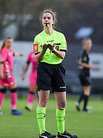 Referee Irmgard Van Meirvenne asks for a ball during a female soccer game between Sporting Charleroi and White Star Woluwe on the 7 th matchday in play off 2 of the 2020 - 2021 season of Belgian Scooore Womens Super League , friday 14 th of May 2021  in Marcinelle , Belgium . PHOTO SPORTPIX.BE | SPP | Sevil Oktem