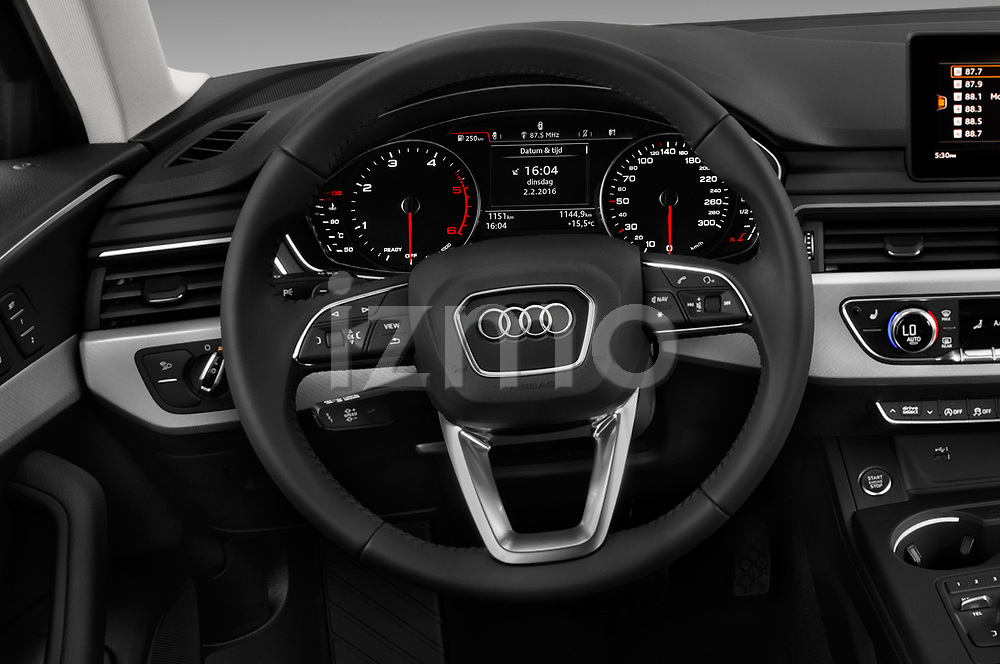 Car pictures of steering wheel view of a 2018 Audi A4 allroad quattro base 5 Door Wagon