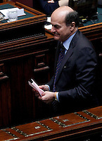 Il leader del Partito Democratico Pierluigi Bersani vota durante la terza seduta comune di senatori e deputati per l'elezione del nuovo Capo dello Stato alla Camera dei Deputati, Roma, 19 aprile 2013..Italian Democratic Party's leader Pierluigi Bersani votes during the third common plenary session of senators and deputies to elect the new Head of State, at the Lower Chamber in Rome, 19 April 2013..UPDATE IMAGES PRESS/Isabella Bonotto