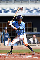 Charlotte Stone Crabs third baseman Tyler Goeddel (5) at bat during a game against the Fort Myers Miracle on June 24, 2014 at Charlotte Sports Park in Port Charlotte, Florida.  Fort Myers defeated Charlotte 7-6.  (Mike Janes/Four Seam Images)