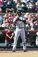 Salt River Rafters center fielder Monte Harrison (4), of the Miami Marlins organization, at bat during the Arizona Fall League Championship Game against the Peoria Javelinas at Scottsdale Stadium on November 17, 2018 in Scottsdale, Arizona. (Zachary Lucy/Four Seam Images)