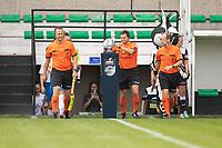 Referee Bram De Clerq and assistants Timmy Vande Velde and Toon Valgaeren pictured during a female soccer game between Eendracht Aalst and KRC Genk on the third matchday of the 2021 - 2022 season of Belgian Scooore Womens Super League , Saturday 4 September 2021  in Aalst , Belgium . PHOTO SPORTPIX    KRISTOF DE MOOR