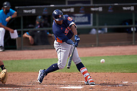 Houston Astros Pedro Leon (98) bats during a Major League Spring Training game against the Miami Marlins on March 21, 2021 at Roger Dean Stadium in Jupiter, Florida.  (Mike Janes/Four Seam Images)