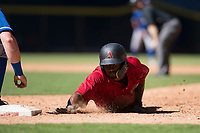Arizona Diamondbacks second baseman Keshawn Lynch (7) slides into first base during an Instructional League game against the Kansas City Royals at Chase Field on October 14, 2017 in Phoenix, Arizona. (Zachary Lucy/Four Seam Images)