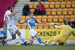 St Johnstone v Ross County… McDiarmid Park..     SPFL<br />Steven MacLean is denied by Scott Fox<br />Picture by Graeme Hart.<br />Copyright Perthshire Picture Agency<br />Tel: 01738 623350  Mobile: 07990 594431