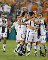 FC Pachuca players celebrate their win. FC Pachuca defeated Houston Dynamo 4-3 in penalty kicks after a 2-2 tie in regulation and extra time at Robertson Stadium in Houston, TX on August 14, 2007 in the Superliga semi-finals.