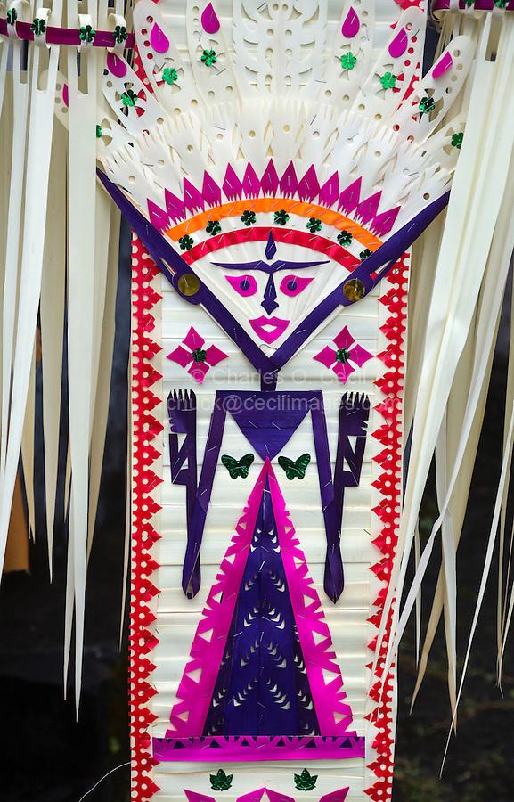 Jatiluwih, Bali, Indonesia.  Festival Decorations Representing Sri, the Rice Goddess.  Luhur Bhujangga Waisnawa Hindu Temple.