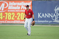 Kannapolis Intimidators right fielder Jake Fincher (10) on defense against the West Virginia Power at Kannapolis Intimidators Stadium on August 20, 2016 in Kannapolis, North Carolina.  The Intimidators defeated the Power 4-0.  (Brian Westerholt/Four Seam Images)