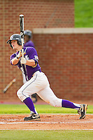 Sean Wilson #22 of the High Point Panthers follows through on his swing against the VMI Keydets at Willard Stadium on March 31, 2012 in High Point, North Carolina.  The Panthers defeated the Keydets 2-0.  (Brian Westerholt/Four Seam Images)