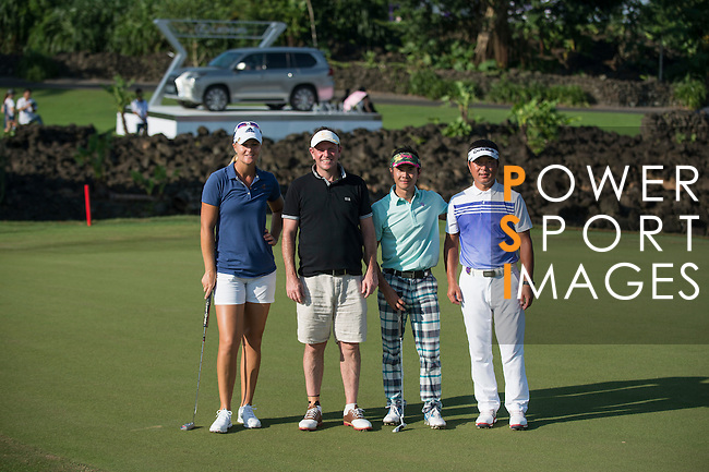 (L-R) Anna Nordqvist, Lee Sharpe, Xing Aowei. Man Wenjun during the World Celebrity Pro-Am 2016 Mission Hills China Golf Tournament on 22 October 2016, in Haikou, China. Photo by Marcio Machado / Power Sport Images