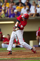 Stony Brook Seawolves outfielder Travis Jankowski #6 connects during the NCAA Super Regional baseball game against LSU on June 9, 2012 at Alex Box Stadium in Baton Rouge, Louisiana. Stony Brook defeated LSU 3-1. (Andrew Woolley/Four Seam Images)