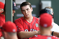 First baseman Triston Casas (38) of the Greenville Drive is greeted after scoring a run in a game against the Rome Braves on Friday, June 28, 2019, at Fluor Field at the West End in Greenville, South Carolina. Rome won, 4-3. (Tom Priddy/Four Seam Images)