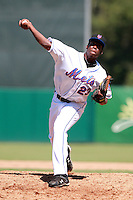 New York Mets minor league pitcher Akeel Morris (23) during a game vs. the Minnesota Twins in an Instructional League game at City of Palms Park in Fort Myers, Florida;  October 4, 2010.  Photo By Mike Janes/Four Seam Images