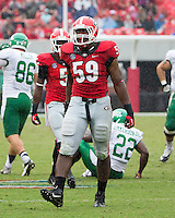 The Georgia Bulldogs played North Texas Mean Green at Sanford Stadium.  After North Texas tied the game at 21 early in the second half, the Georgia Bulldogs went on to score 24 unanswered points to win 45-21.  Georgia Bulldogs linebacker Jordan Jenkins (59)