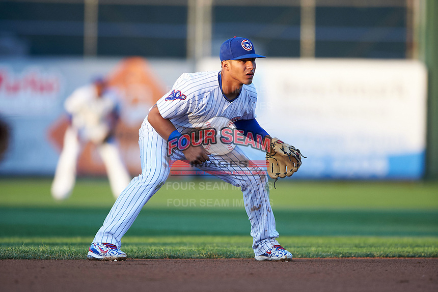 South Bend Cubs shortstop Gleyber Torres (7) during a game against the Cedar Rapids Kernels on June 5, 2015 at Four Winds Field in South Bend, Indiana.  South Bend defeated Cedar Rapids 9-4.  (Mike Janes/Four Seam Images)