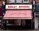 The shop front of Morley Butchers, Topsfield Parade, Crouch End, during second lockdown.