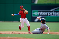Clearwater Threshers shortstop Emmanuel Marrero (33) turns a double play as Lakeland Flying Tigers designated hitter Will Allen (15) slides into second base during the first game of a doubleheader against the Lakeland Flying Tigers on June 14, 2017 at Spectrum Field in Clearwater, Florida.  Lakeland defeated Clearwater 5-1.  (Mike Janes/Four Seam Images)