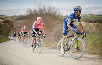 Julian ALAPHILIPPE (FRA/Deceuninck-Quick Step) going strong over the graveland on his way to victory in his first attempt in this 13th Strade Bianche 2019 (1.UWT)<br /> One day race from Siena to Siena (184km)<br /> <br /> ©kramon