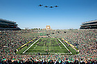 September 18, 2021; Four A-10 Warthogs fly over Notre Dame Stadium before the game against the Purdue Boilermakers. (photo by Matt Cashore/University of Notre Dame)