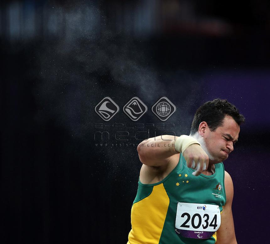 Lindsay Sutton (AUS), Men's Shot Put - F20.<br /> Athletics, Olympic Stadium (Friday 7th Sept)<br /> Paralympics - Summer / London 2012<br /> London England 29 Aug - 9 Sept <br /> © Sport the library/Joseph Johnson
