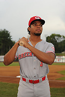 Rece Hinds (3) of the Greeneville Reds poses for a photo prior to a game against the Bristol Pirates at Boyce Cox Field on July 31, 2019 in Bristol, Virginia. The Pirates defeated the Reds 13-3. (Tracy Proffitt/Four Seam Images)