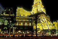 Las Vegas, Nevada, Paris Casino & Resort, NV, Replica of the Eiffel Tower and other landmarks at Paris Las Vegas Resort & Casino on The Strip at night in Las Vegas, the Entertainment Capital of the World.