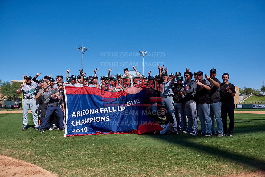 The Salt River Rafters celebrate after winning the Arizona Fall League Championship Game against the Surprise Saguaros on October 26, 2019 at Salt River Fields at Talking Stick in Scottsdale, Arizona. The Rafters defeated the Saguaros 5-1. (Zachary Lucy/Four Seam Images)