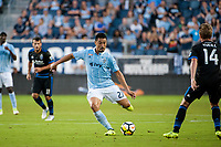 Kansas City, KS - Wednesday August 9, 2017: Roger Espinoza during a Lamar Hunt U.S. Open Cup Semifinal match between Sporting Kansas City and the San Jose Earthquakes at Children's Mercy Park.