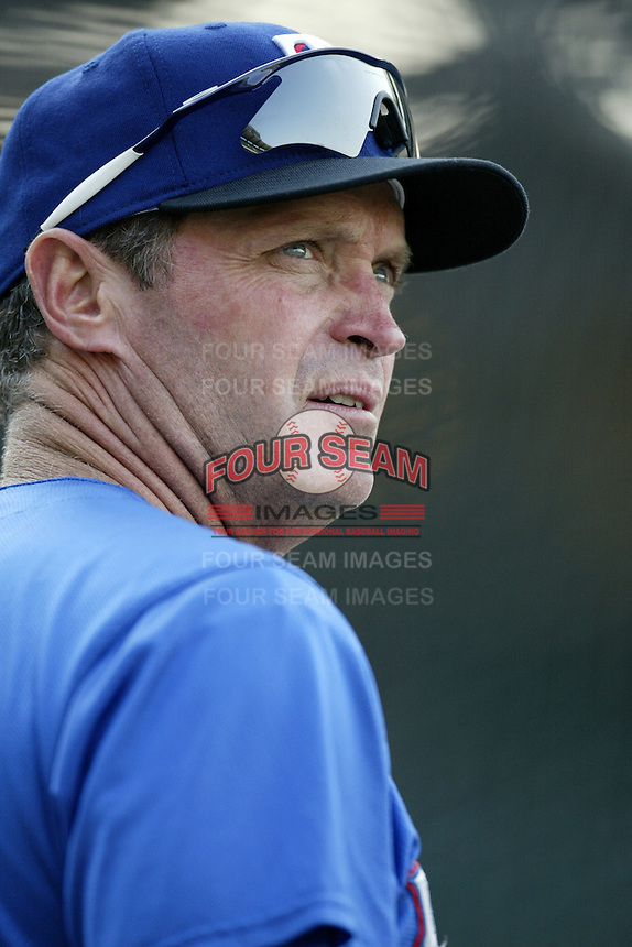 Texas Rangers Manager Jerry Narron before a 2002 MLB season game against the Los Angeles Angels at Angel Stadium, in Los Angeles, California. (Larry Goren/Four Seam Images)