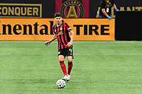 ATLANTA, GA - AUGUST 22: Matheus Rossetto #9 passes the ball during a game between Nashville SC and Atlanta United FC at Mercedes-Benz Stadium on August 22, 2020 in Atlanta, Georgia.