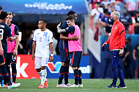 DENVER, CO - JUNE 3: Christian Pulisic #10 and Jordan Siebatcheu Pefok #16 of the United States celebrate their win during a game between Honduras and USMNT at Empower Field at Mile High on June 3, 2021 in Denver, Colorado.