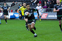 Sunday 26 February 2017<br /> Pictured: Keelan Giles runs in for the ospreys first try.<br /> RE: Guinness Pro12 Ospreys v Glasgow at the the Liberty Stadium, Swansea, Wales, UK