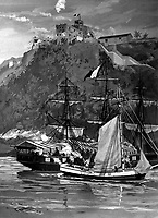 Capture of the French Privateer Sandwich by armed Marines on the Sloop Sally, from the U.S. Frigate Constitution, Puerto Plata Harbor, Santo Domingo, 11 May 1800.  Copy of painting by Philip Colprit, 1960.  (Marine Corps)<br /> Exact Date Shot Unknown<br /> NARA FILE #:  127-N-526627<br /> WAR & CONFLICT BOOK #:  72