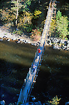 The swinging bridge over Rock Creek at Welcome Creek trailhead in Montana