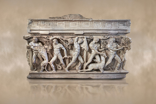 """Side panel of a Roman relief sculpted Hercules sarcophagus with kline couch lid, """"Columned Sarcophagi of Asia Minor"""" style typical of Sidamara, 250-260 AD, Konya Archaeological Museum, Turkey. Against a warm art background."""