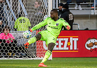 WASHINGTON, DC - MARCH 07: Bill Hamid #24 of DC United clears up field during a game between Inter Miami CF and D.C. United at Audi Field on March 07, 2020 in Washington, DC.